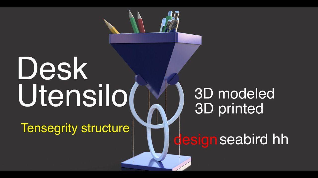 3D Printed Floating Desk Utensilo – Tensegrity
