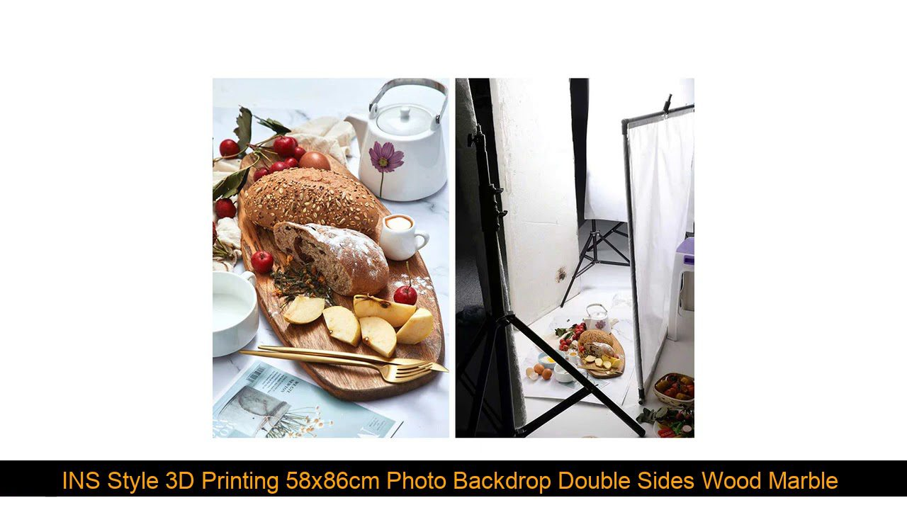 INS Style 3D Printing 58x86cm Photo Backdrop Double Sides Wood Marble Cement Wall Photography Backg